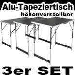 Multifunktionstisch Klapptisch 3- teilig Alu Tapeziertisch