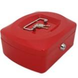 Geldkassette Mittel 20,5cm 2 Schlüssel und Münzfach ROT