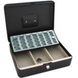Geldkassette 30cm schwarz inkl. Schein & Münzfach Geld Kasse
