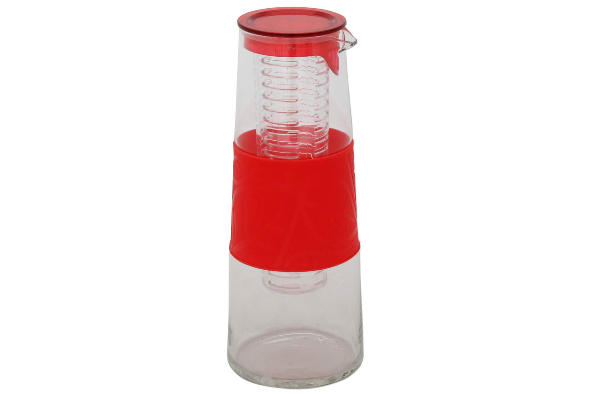 Glaskaraffe mit Fruchteinsatz rot Deckel 1 Liter Glas